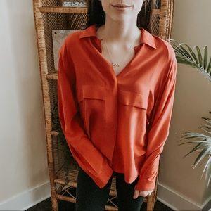 Christian Dior Silk Button Down Red Blouse